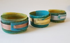 Sand and Sea Cuffs with copper, brass, aluminium